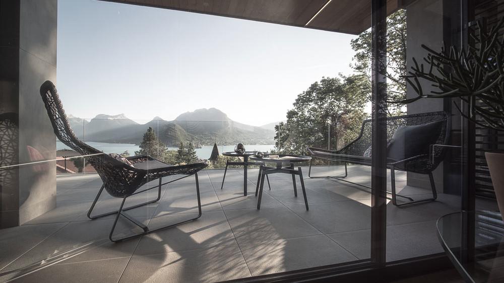 Maison contemporaine, terrasse vue Lac Annecy - maison design, constructeur maison - Maison d'architecte - Maison Particulière - Haute-Savoie - 74