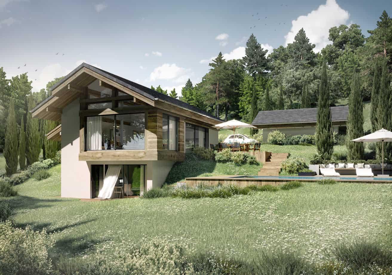 Vue d'une maison contemporaine à la campagne en Haute-Savoie, constructeur maison - Maison d'architecte - Maison Particulière - Haute-Savoie - 74
