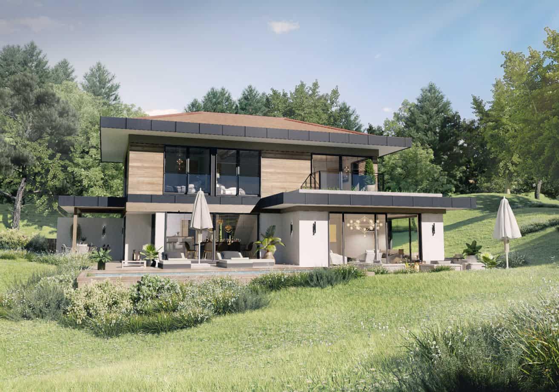 Maison contemporaine dans la campagne savoyarde, constructeur maison - Maison d'architecte - Maison Particulière - Haute-Savoie - 74