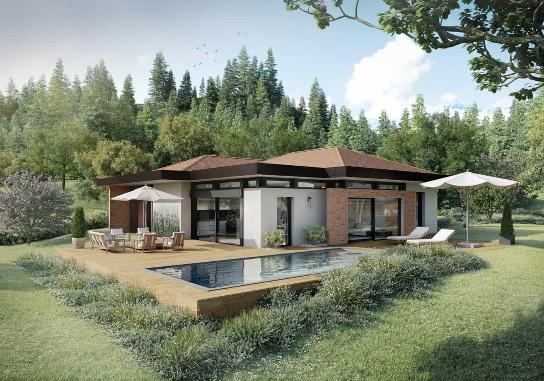 Terrasse piscine avec jardin, constructeur maison - Maison d'architecte - Maison Particulière - Haute-Savoie - 74