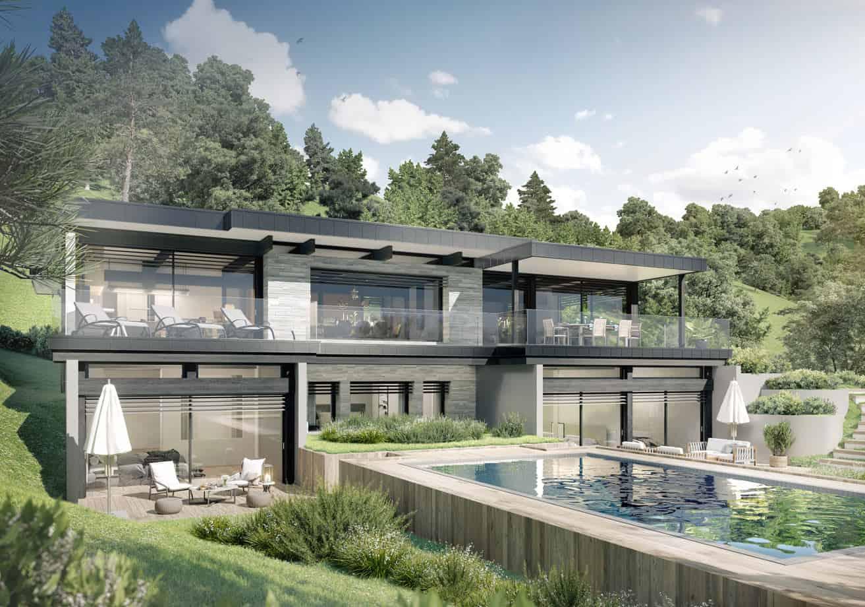 Maison contemporaine avec piscine et jardin, constructeur maison - Maison d'architecte - Maison Particulière - Haute-Savoie - 74