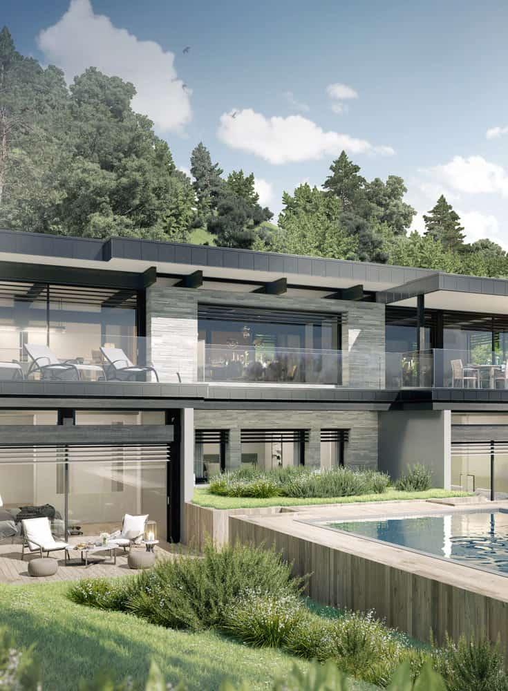 Piscine bois, terrasse et jardin, constructeur maison - Maison d'architecte - Maison Particulière - Haute-Savoie - 74