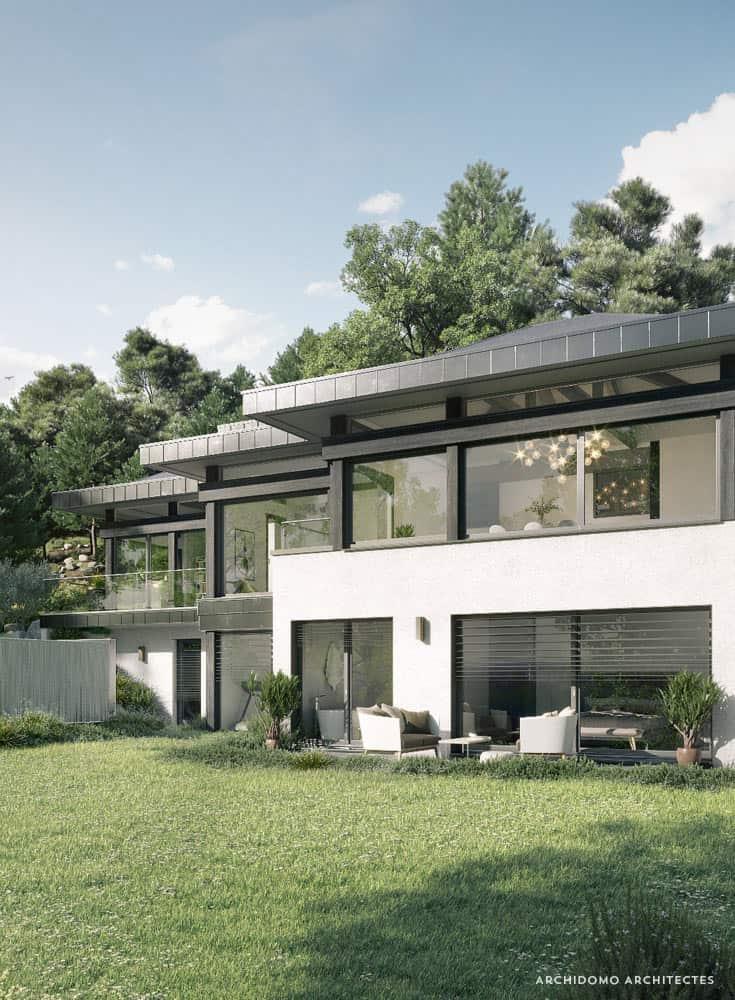 Magnifique maison contemporaine ouverte sur jardin en Haute-Savoie. Maison contemporaine, constructeur maison - Maison d'architecte - Maison Particulière - Haute-Savoie - 74