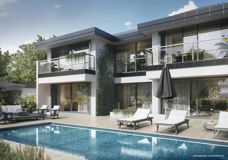 Détail architectural d'une maison contemporaine sur terrasse et piscine. Maison contemporaine, constructeur maison - Maison d'architecte - Maison Particulière - Haute-Savoie - 74