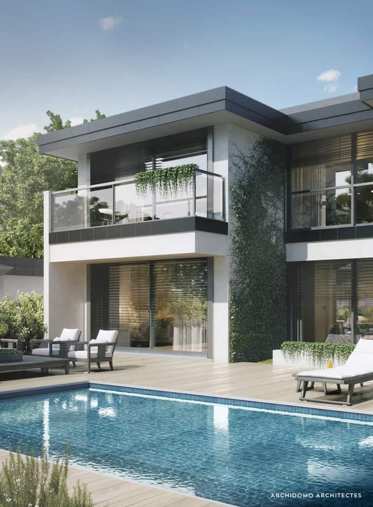 Projet Maison contemporaine en Haute-Savoie. Terrasse et piscine. Maison contemporaine, constructeur maison - Maison d'architecte - Maison Particulière - Haute-Savoie - 74
