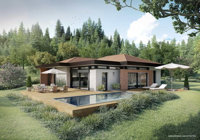 Maison contemporaine posée dans un parc en Haute-Savoie. Maison contemporaine, constructeur maison - Maison d'architecte - Maison Particulière - Haute-Savoie - 74