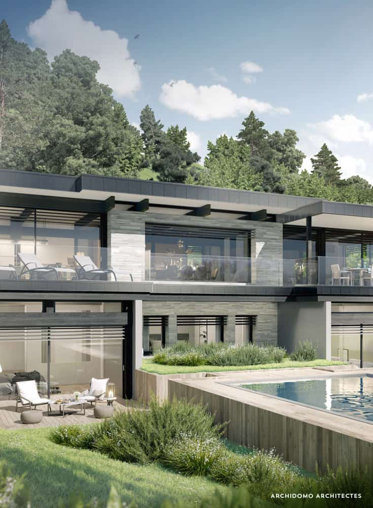 Maison contemporaine avec piscine à débordement. Maison contemporaine, constructeur maison - Maison d'architecte - Maison Particulière - Haute-Savoie - 74