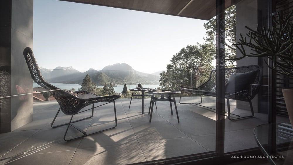 Terrasse vue lac à Talloires. Maison contemporaine, constructeur maison - Maison d'architecte - Maison Particulière - Haute-Savoie - 74